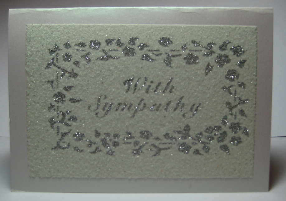 sympathy card with silver glitter and white sand